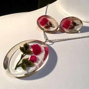 🎁VINTAGE Rose Necklace and Earring Set